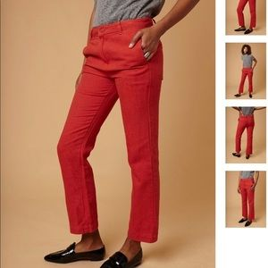 Sincerely Jules Red Linen Pants